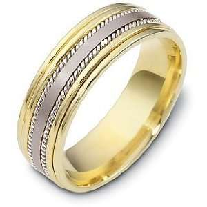 18 Karat Two Tone Gold Comfort Fit 7mm Rope Style Wedding