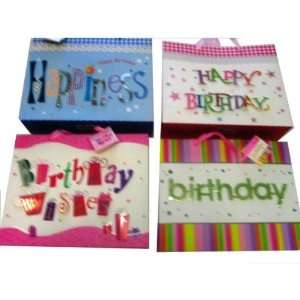 Gift Bag Birthday (3D) 4 Assorted Colors Case Pack 48