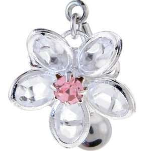 REVERSIBLE Crystal Passion Pink DAISY Belly Button Ring Jewelry