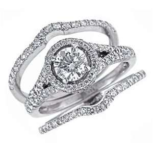 Set Round Brilliant Cut Diamond Engagement Ring and Matching Wedding