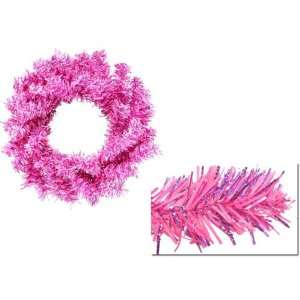 Hot Pink Tinsel Artificial Christmas Wreaths 6 Unlit