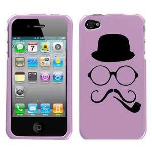 black silhouette of hat round glasses twirly mustache and smoking pipe