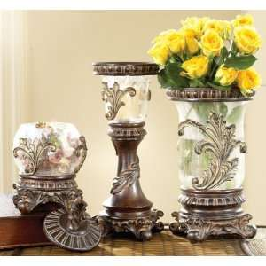 Set of 9 Clear Glass Botanical Vases with Crackled Finish