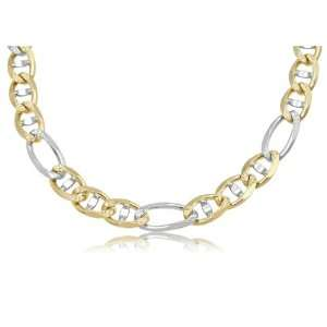 com 14K Solid Yellow and White Gold, 2 Two Tone, Figarucci Link Chain
