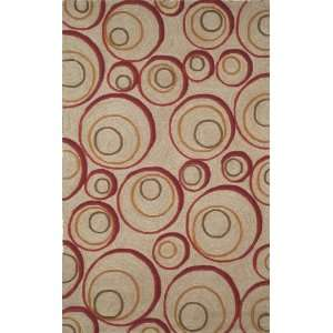 Indoor/Outdoor Hand Tufted Area Rug Hoops 8 Round Red