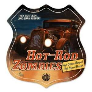 Hot Rod Zombies Vintage Metal Sign Hot Rod