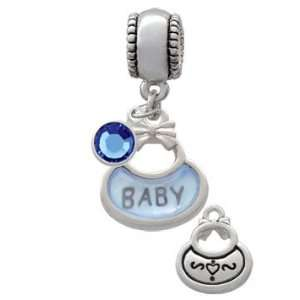 2 Sided Blue Baby Bib European Charm Bead Hanger with
