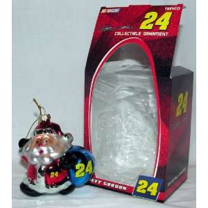Jeff Gordon #24 NASCAR Blown Glass Santa Collectible Ornament