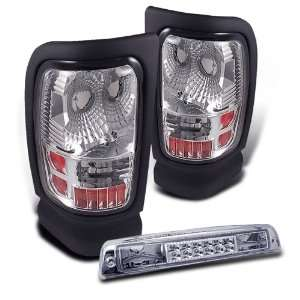 94 01 Dodge Ram Clear Tail Lights + LED 3rd Brake Light Automotive