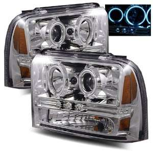 Super Duty Chrome CCFL LED Projector Headlights /w Amber Automotive