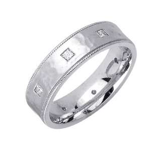 Beverly Diamonds Mens 14K WHITE GOLD DIAMOND WEDDING BAND RING
