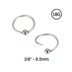 316L Surgical Steel Nose Ring Hoop Captive Bead Ring 3/8   9.5mm 18G