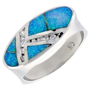 Sterling Silver, Synthetic Opal Inlay Ring w/ CZ stone Accents, 3/8