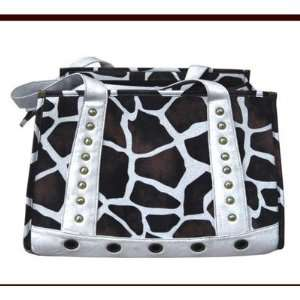 Faux Leather Handbag Pet Carrier in Giraffe