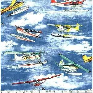 45 Wide Sea Planes Blue Fabric By The Yard Arts, Crafts