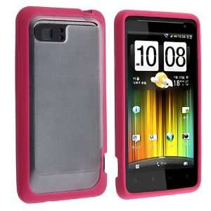 TPU Rubber Skin Case for HTC Holiday / Vivid, Clear with Hot Pink Trim