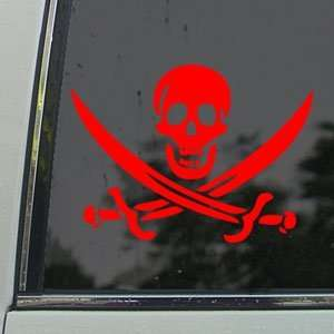 Skull And Crossed Swords Red Decal Truck Window Red