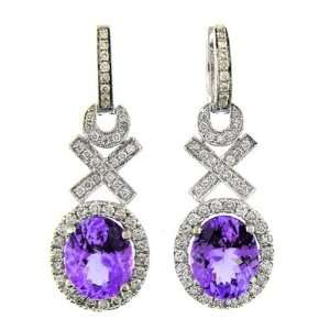 5.70 CT WHITE GOLD TANZANITE & DIAMOND EARRINGS 14 KT Jewelry