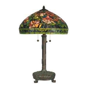 TT90425 Tiffany Table Lamp, Dark Antique Bronze and Art Glass Shade