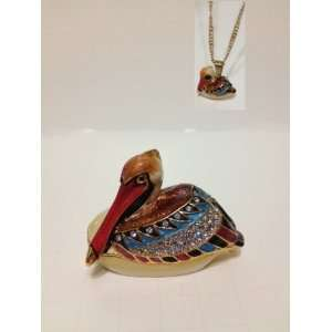 Pelican Bejeweled Trinket Box