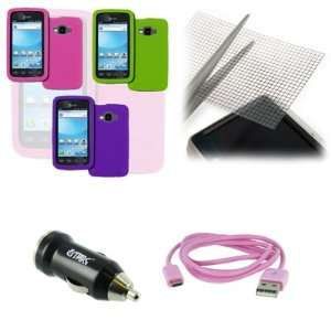 USB 2.0 Data Cable (Pink) + USB Car Charger Adapter + Universal Screen