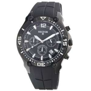 Hector Mens 665045 Black PVD Chronograph Rubber Watch Watches