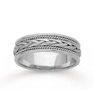 14k White Gold Milgrain Weave Hand Carved Wedding Band Jewelry