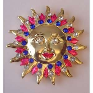 Kitchen Fridge Magnet Gold Tone Sun Rhinestones Pink