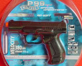 WALTHER P99 Metal Slide BLOW BACK Semi Automatic Airsoft Pistol 380fps