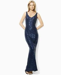 Lauren by Ralph Lauren Dress, Sleeveless Sequin Evening Gown   Womens