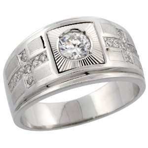925 Sterling Silver Mens Double Cross Solitaire Mens Ring w