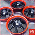 20 USED AUDI A4 WHEELS RIMS (BLACK W CUSTOM PAINT/ RED LIP) 4PC RIMS