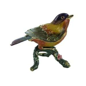 Bird Trinket Box American Goldfinch Bejeweled Multicolor