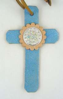 Cowgirl Barrel Racer Saddle Cross Crystal Concho