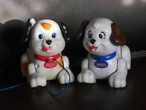TWO Fisher Price Lil Snoopy Puppy Dog Pull Toy Mattel