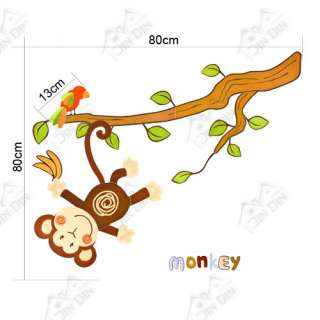 Wall Mural Removable Deco Sticker Monkey Tree Nursery Kids Decal Wall