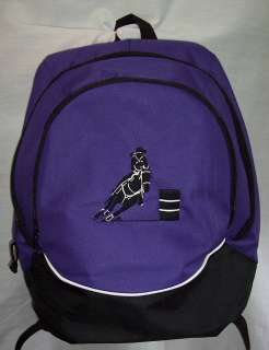 BARREL RACER racing Backpack Book Bag purple horse NEW